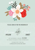 Wedding invitation with  flowers. — Stock Vector