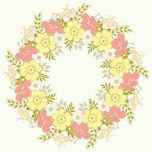 Cute floral wreath. — Stock Vector