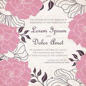 Carta di invito di matrimonio floreale vintage. — Vettoriale Stock