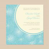 Beautiful blue wedding invitation card. — Stock Vector