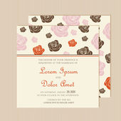 Wedding invitation card with roses. — Stock Vector
