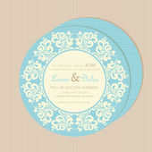Round, double-sided vintage wedding invitation card — Stock Vector