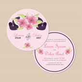 Round, double-sided wedding invitation card  and flowers. — Stock Vector