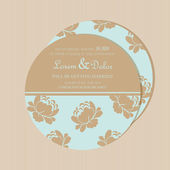 Round, double-sided floral wedding invitation card. — Stock Vector