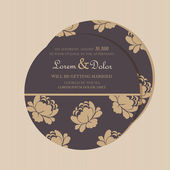 Double-sided vintage floral wedding invitation card. — Stock Vector