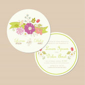 Round wedding invitation card and  flowers. — Stock Vector