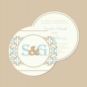 Round, double-sided vintage wedding invitation. — Stock Vector