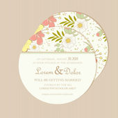 Round, double-sided floral wedding invitation  card — Stock Vector