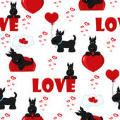 Cute background with dogs and hearts — Stock Vector