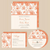Set of wedding invitation withl floral background. — Stock Vector