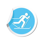 Map pointer with ski track icon. — Stock Vector