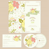 Wedding invitation cards  with flowers — Stock Vector