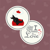 Card for Valentine's Day with dog in love — Stock Vector