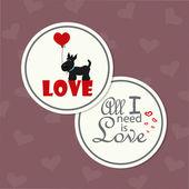 Karte zum valentinstag mit lustigen hund — Stockvektor
