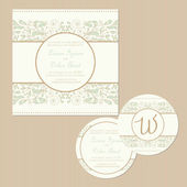 Set of vintage wedding invitation cards. — Stock Vector