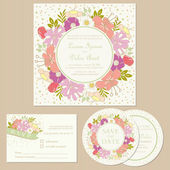 Set of wedding invitation cards  with flowers — Stock Vector