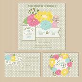 Set of wedding invitation cards  flowers — Stock Vector