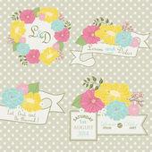Set of floral wedding design elements. — Stock Vector