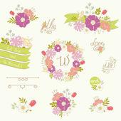 Set of wedding design elements. — Stock Vector