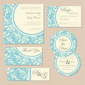 Set of vintage floral wedding invitation cards. — Stock Vector
