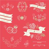 Set of wedding design elements — Stock Vector