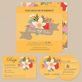 Set of wedding invitation cards or announcements with beautiful floral background — Stock Vector