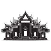 Thailand Temple Icons, symbol — Stock Vector