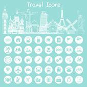 Icone di riferimento viaggi — Vettoriale Stock