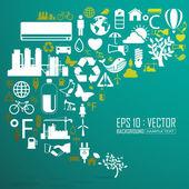 ökológia és újra feldolgoz ikonok, hátterek — Stockvector
