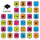 Graduation icons ,Illustration eps 10 — Stockvektor