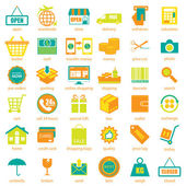 Shopping and logistic icons  set, vector — Stock Vector