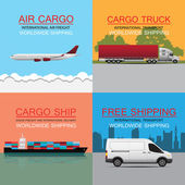 World wide cargo transport vector concept — Stock Vector