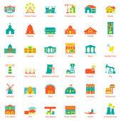 Conjunto de iconos de la ciudad de edificios — Vector de stock