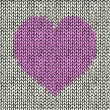 Seamless background with pink knitted heart — Stock Vector