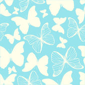 Seamless pattern with outline and silhouette butterflies — Stock Vector