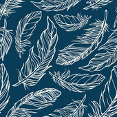 Seamless pattern with outline decorative feathers — Stock Vector