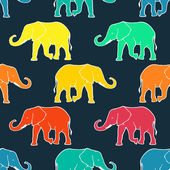Seamless pattern with hand drawn silhouette elephants — Stock Vector