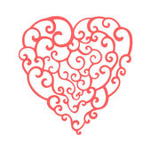Hand drawn curly doodle heart. Template for your design — Stockvector