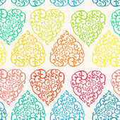 Seamless pattern with hand drawn doodle hearts — Stock Vector