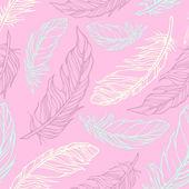 无缝模式与手绘装饰羽毛 — 图库矢量图片