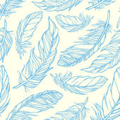 Seamless pattern with hand drawn decorative feathers — ストックベクタ