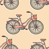 Seamless pattern with hand drawn vintage bicycles — Stock Vector
