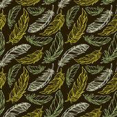 бесшовный фон с рисованной декоративные перья — Cтоковый вектор