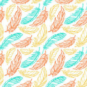 Seamless pattern with hand drawn decorative feathers — Stock Vector