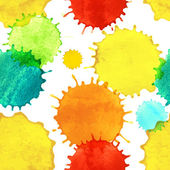 Seamless pattern with colorful watercolor paint splash drops — Stock Vector