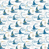 Seamless pattern with decorative sailing ships on waves — Vecteur