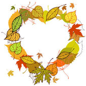 Heart shaped wreath made of autumn leaves illustration — Stock Vector