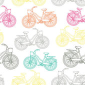 Seamless pattern with outline vintage bicycles — Stock Vector