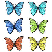 Decorative colorful hand drawn butterflies set — Stock Vector