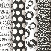 Set of 4 black and white doodle seamless patterns — Stock Vector
